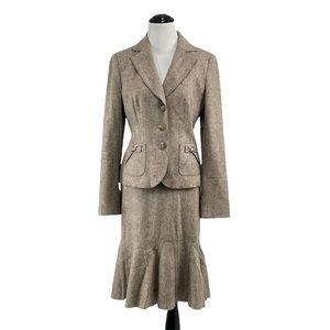 Ann Taylor Wool Blend Career 2-Piece Suit Fishtail Pencil Skirt, Size 2